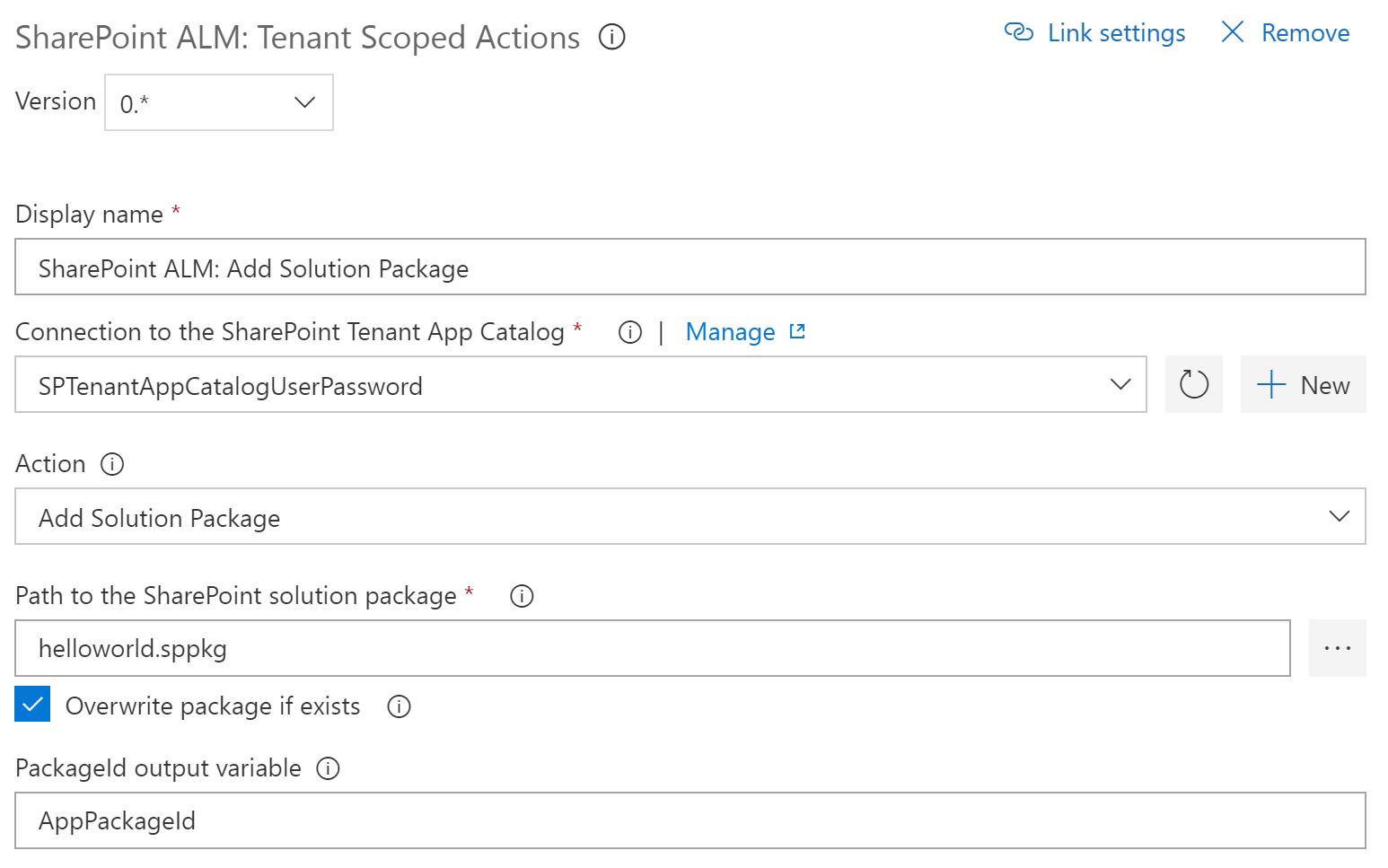 Catalog Scoped Action: Add