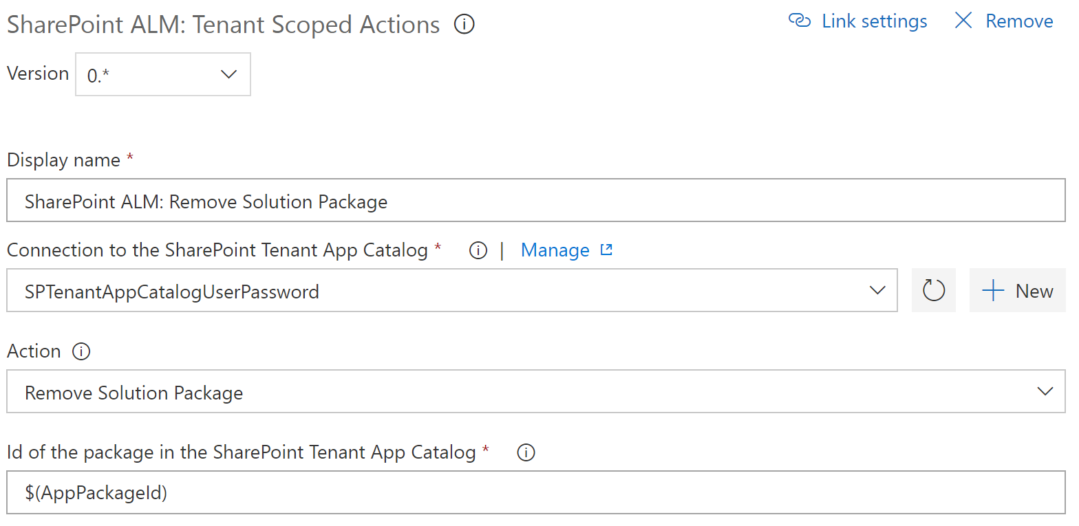 Catalog Scoped Action: Remove